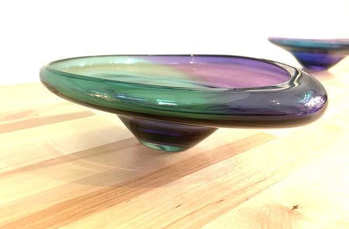 Hand Blown Glass Two Tone Rim Plate/Purple & Green