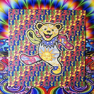 Psychedelic Blotter Art Print Perforated Sheet/Paper 15x15 - Grateful Dead Bear Design