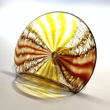 Load image into Gallery viewer, Handblown Glass Business Card Holder Color, Yellow/Red Spotted Design
