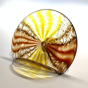 Handblown Glass Business Card Holder Color, Yellow/Red Spotted Design
