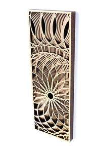 Phillip Roberts Wooden Hand Crafted Wood Wall Art 16x6in. - Dahlia Design