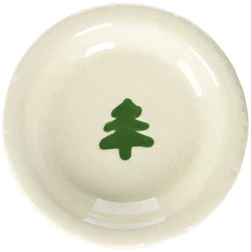 Creative Co-Op Round Terracotta Plate with Tree Image