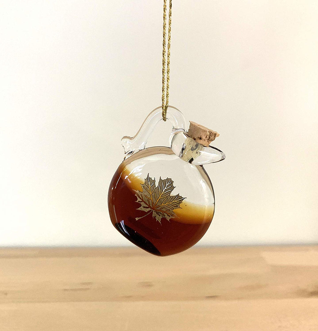 Aaron Slater Hand Blown Glass Ornament, Maple Syrup Design