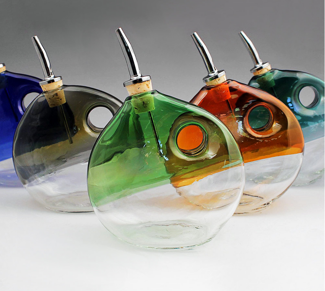 Hand Blown Glass Olive Oil Dispenser