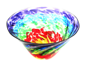 Handblown Glass Rainbow Optic Bowl
