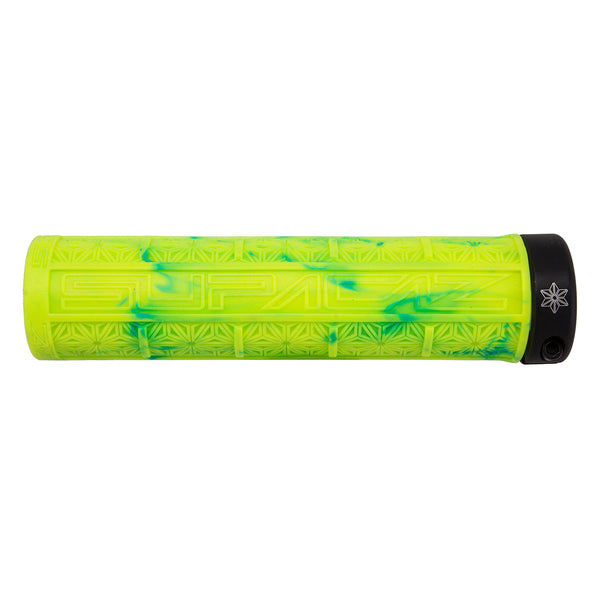 SUPACAZ Grizips Lock-On Grips Neon Yellow and Blue Splash/Black