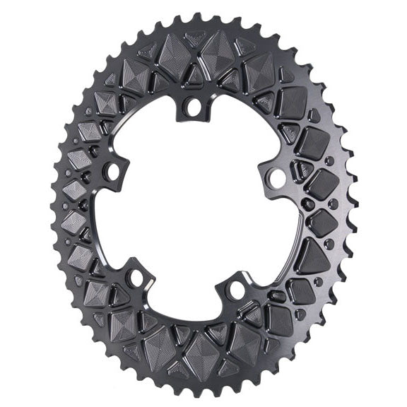 Absolute Black Premium oval road chainring, 5x110BCD 50T - grey