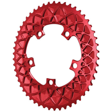 Absolute Black Premium oval road chainring, 5x110BCD 52T - red