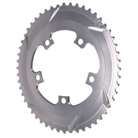 Absolute Black Premium oval road chainring, 5x110BCD 52T - grey
