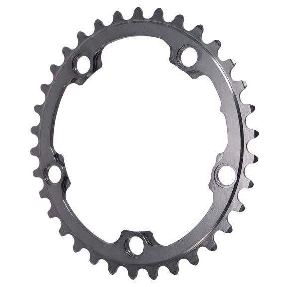 Absolute Black Winter oval road chainring, 5x110BCD 34T - grey