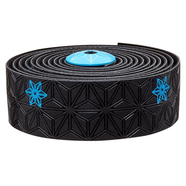 Supacaz Super Sticky Kush bar tape, Galaxy blk w/neon blue