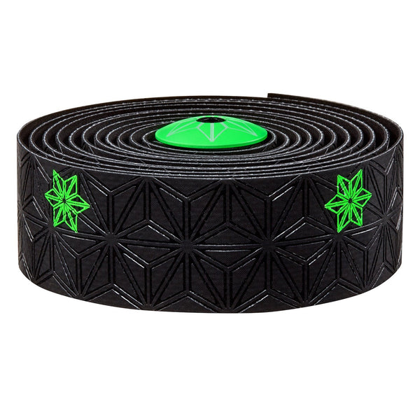 Supacaz Super Sticky Kush bar tape, Galaxy blk w/neon green