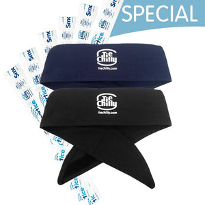 2  Tie Chillys with Logo + 6 Extra Cooling Strips