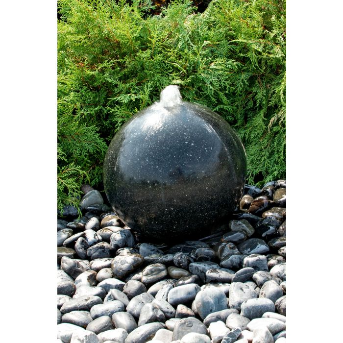 "Black Granite Sphere- 16"" dia"