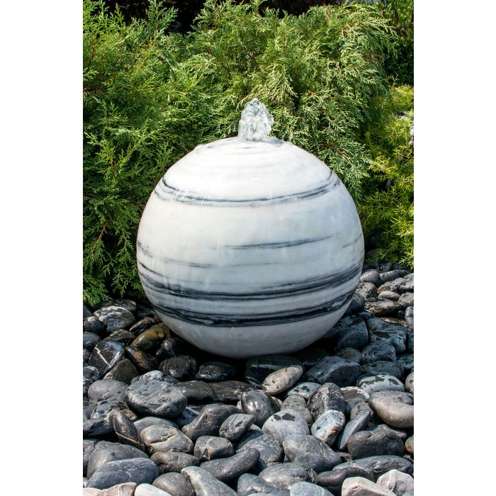 "White Grey Marble Sphere- 24"" dia"
