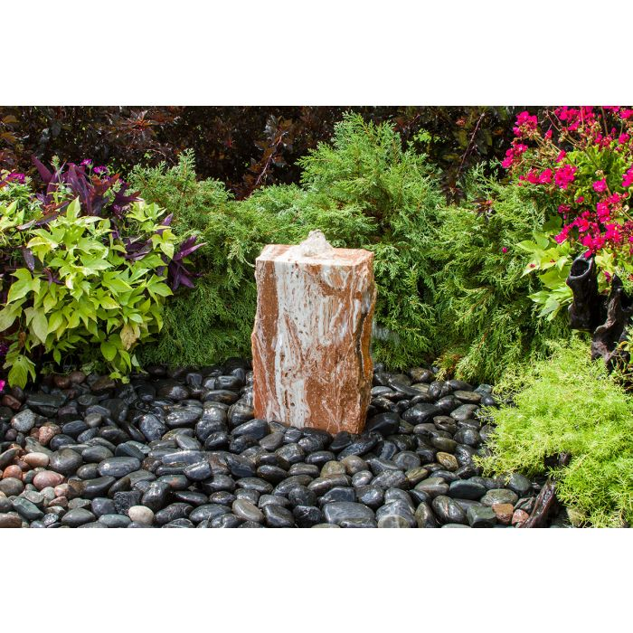 "Small Travertine Basalt Fountain Kit- 18""h"