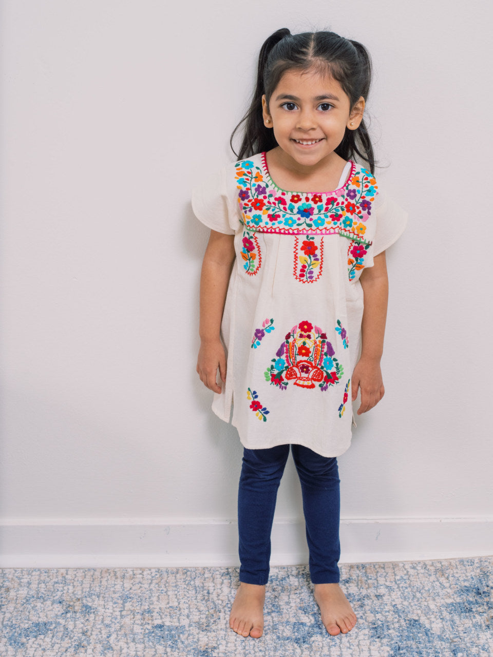 Flor de Puebla - Manta Dress - Handmade, Embroidered Mexican Little Girl Dress - Chokolita