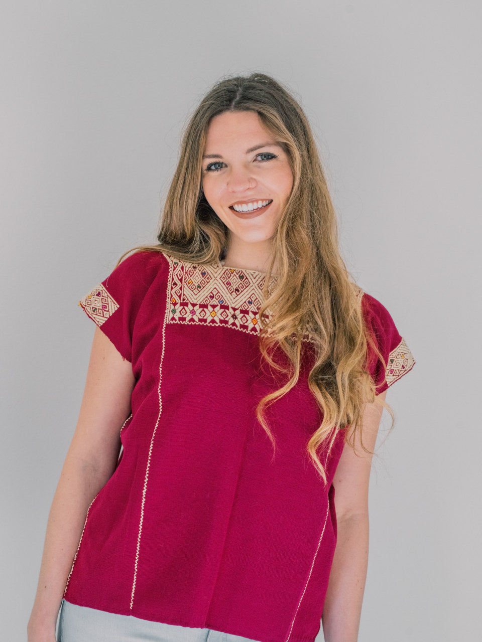 Huipil Magenta Top (S/M) - Handmade, Embroidered Mexican Women Top - Chokolita