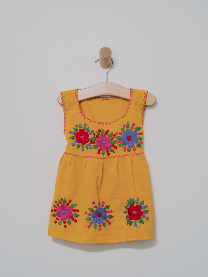 Flor de Chiapas Dress - Handmade, Embroidered Mexican Little Girl Dress - Chokolita
