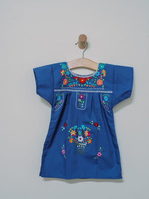 Flor de Puebla Dress - Handmade, Embroidered Mexican Little Girl Dress - Chokolita