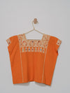 Huipil Naranja Top (XS-S) - Handmade, Embroidered Mexican Little Girl Top - Chokolita