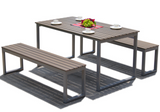 Plastic Wood Bench Set