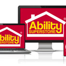 A number of smart devices on which can be seen the Ability Superstore logo
