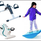 A picture of a girl on a Tumble, Balance Board. To the left of this picture is an image of a Pedal Exerciser with Digital Display, as well as a Motorised Electric Mini Exercise Bike