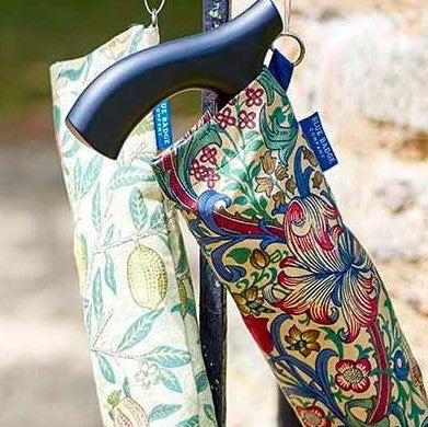 Folding walking sticks in patterned carry cases