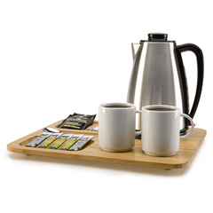 the image shows the bamboo lap tray with a kettle and two cups of coffee