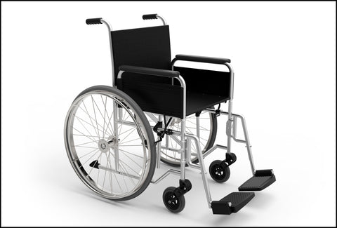 A picture of a black wheelchair on a white background. There isn't anyone sitting in the chair