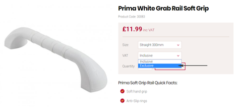 Prima grab rail with optional VAT exemption