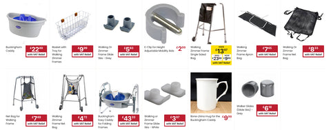 Various walking frame accessories that are available for sale from the Ability Superstore website