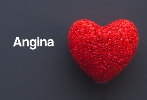 A large heart made from lots of small, red glass beads on a dark background. The word – Angina – can also be seen