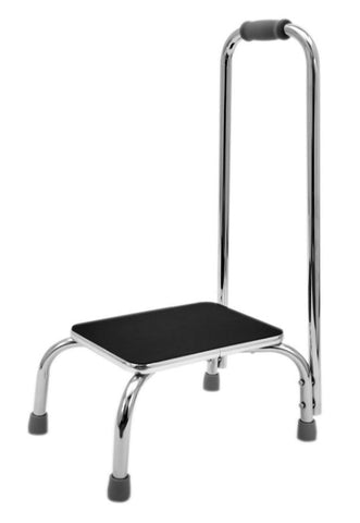 A link to the Chrome Step Stool with Handrail that's available for sale on the Ability Superstore website