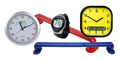 Picture shows two dementia friendly clocks, 1 dementia friendly watch and two high contrast grab rails
