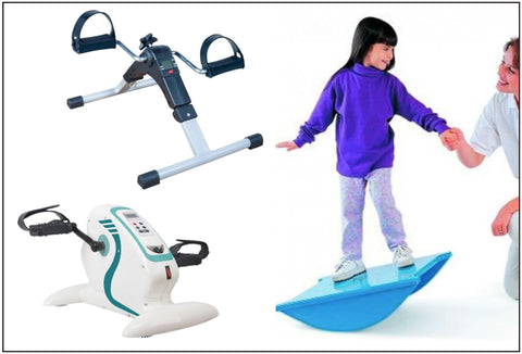 A girl on a Tumble, Balance Board. To the left of this picture is an image of a Pedal Exerciser with Digital Display, as well as a Motorised Electric Mini Exercise Bike