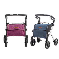 the image shows a burgundy and a blue Rollz flex shopping rollator