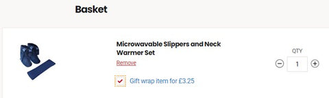 the image shows how you can add 'gift wrap' to a product order