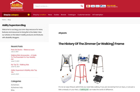 A screenshot of The History Of The Zimmer (or Walking) Frame blog that can be found on the Ability Superstore website