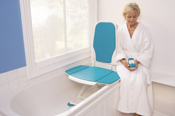 Woman using Bathmaster Premium Bath Lift