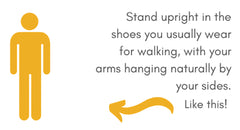 A diagram showing how to stand when being measured for a walking stick