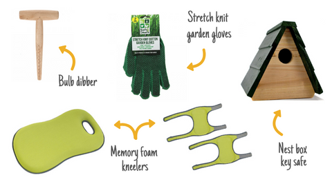 New gardening aids including kneelers, key sage, bulb dibber and gloves