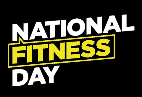 The National Fitness Day logo. The words – National – and – Day – are in white, while the word – Fitness – is in yellow