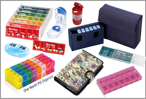 A composite picture with lots of different pill organisers – daily, weekly, monthly and travel options