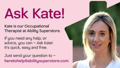The ASK KATE banner that appears on the Ability Superstore website
