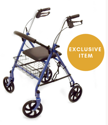 A picture of a Four Wheeled Rollator that's available for sale on the Ability Superstore website