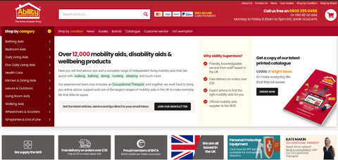 A picture of the Home Page of the Ability Superstore website