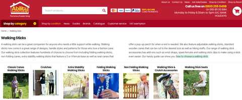 The various walking stick categories on the Ability Superstore website