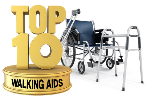 """A picture showing a """"statue"""" with the words – Top 10 Walking Aids – making up the """"statue"""". In the background is a wheelchair and a walking frame"""